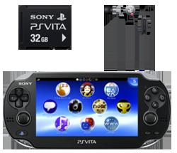 PlayStation Vita クリスタル・ブラック 3G/Wi-Fiモデル限定版・メモリーカード32GB・インナーイヤーヘッドセット